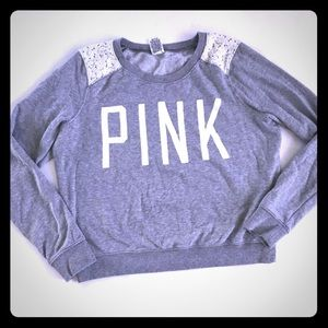 5/$20 VS PINK Gray Sweatshirt Lace Shoulders M